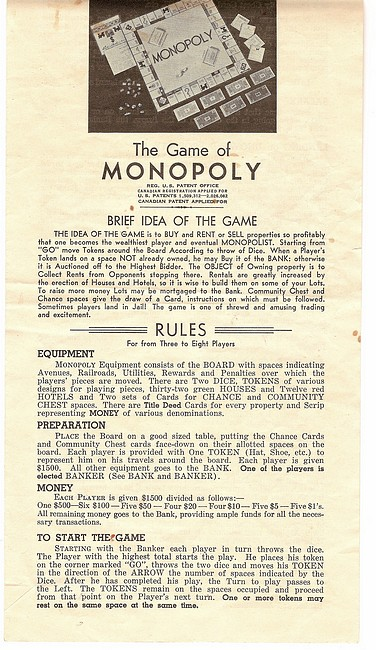 1936 CANADIAN No 9 WHITE BOX MONOPOLY GAME - CANADIAN PATENT ...