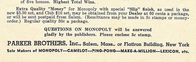 EARLY 1936 MONOPOLY GAME - DUAL PATENT BLACK BOX No 7