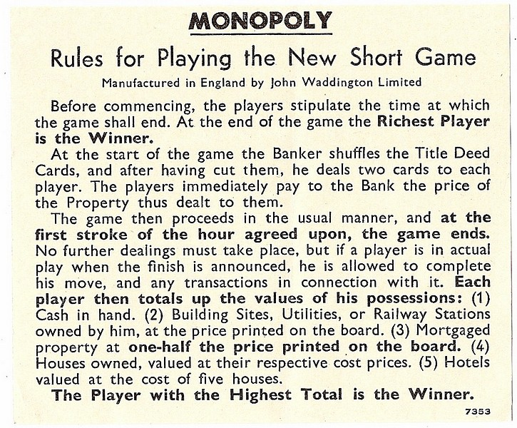 monopoly rules money