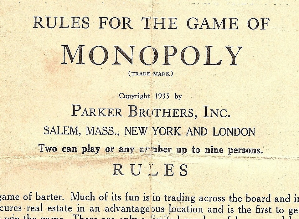 Parker Brothers 1935 Trade Mark Monopoly Game Small Box